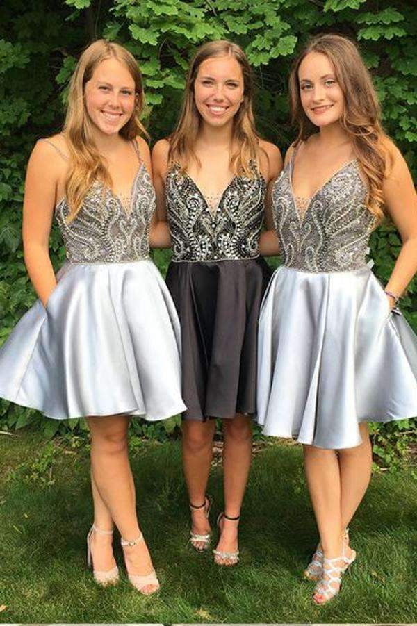 Blue Deep V Neck Spaghetti Homecoming Dresses,Open Back Sequins Beading Short Prom Dress H164