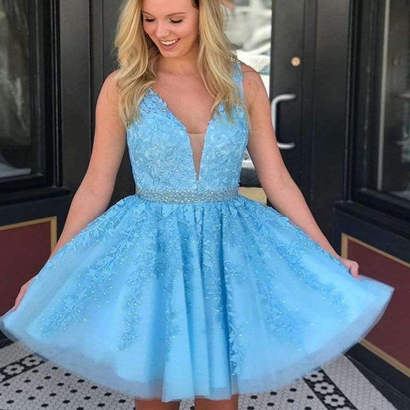 Blue Lace Beaded Sash Sleeveless Fashion Homecoming Dresses,HD0014