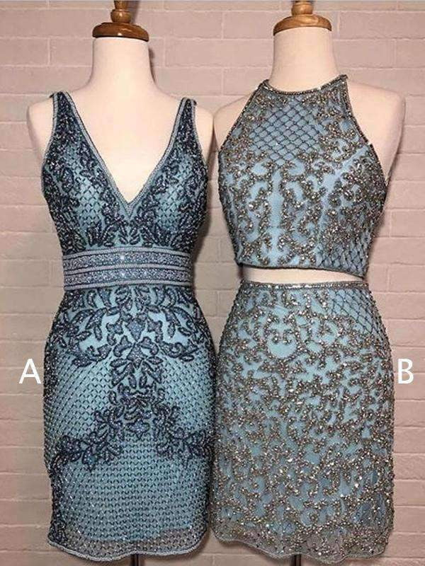 Blue Satin Silver Beading Sheath Mismatched Homecoming Dresses ,HD0033
