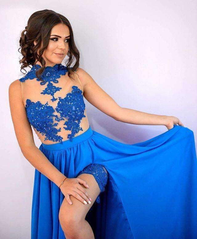 Blue Sexy See-Through Tulle Lace Appliques With Sequins High Neck  Side Slit Prom Dresses ,PD00032
