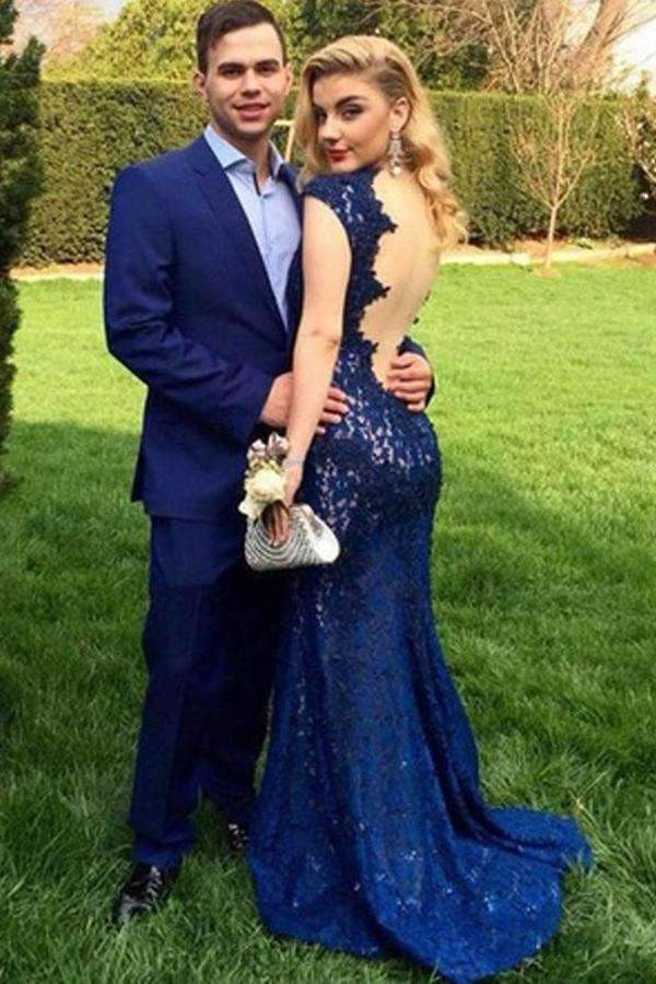 Blue Sheath Brush Train V Neck Capped Sleeve Backless Lace Prom Dress,Party Dress P417