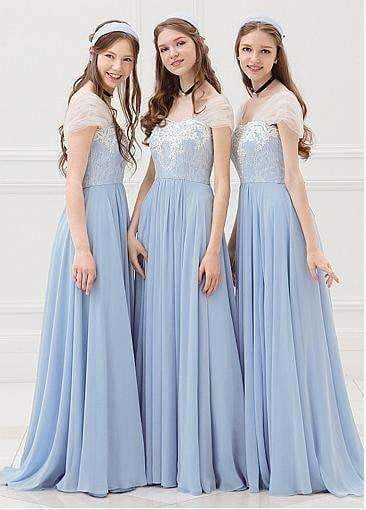 Blue Sweetheart Cap Sleeves A-line Bridesmaid Dresses Long Prom Dresses