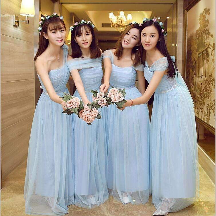 Blue Sweetheart Sleeveless A Line Tulle Long Bridesmaid Dresses