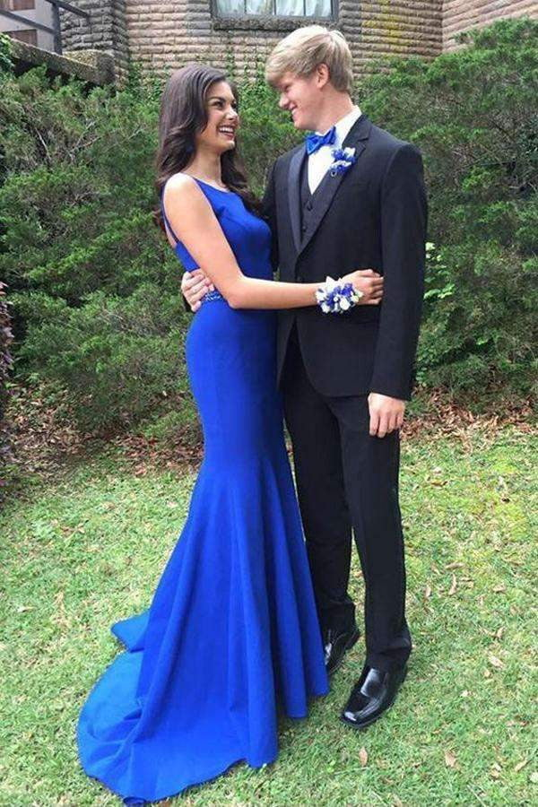 Blue Trumpet Brush Train Sleeveless Open Back Prom Dress,Party Dress P445