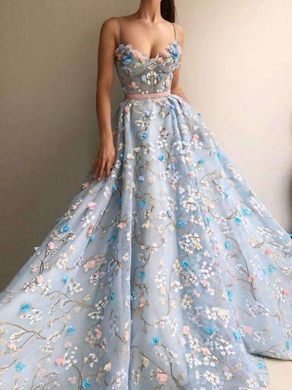 Blue Tulle Applique Spaghetti Strap Handmade Flower Prom Dresses,PD00119