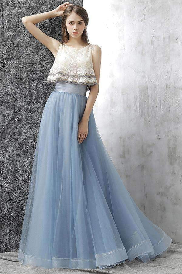 Blue Two Piece A Line Brush Train Sleeveless Layers Tulle Prom Dress,Party Dress P396