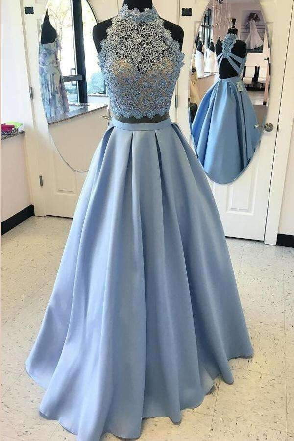 Blue Two Piece A Line Halter Sleeveless Open Back Appliques Evening/Prom Dress P77