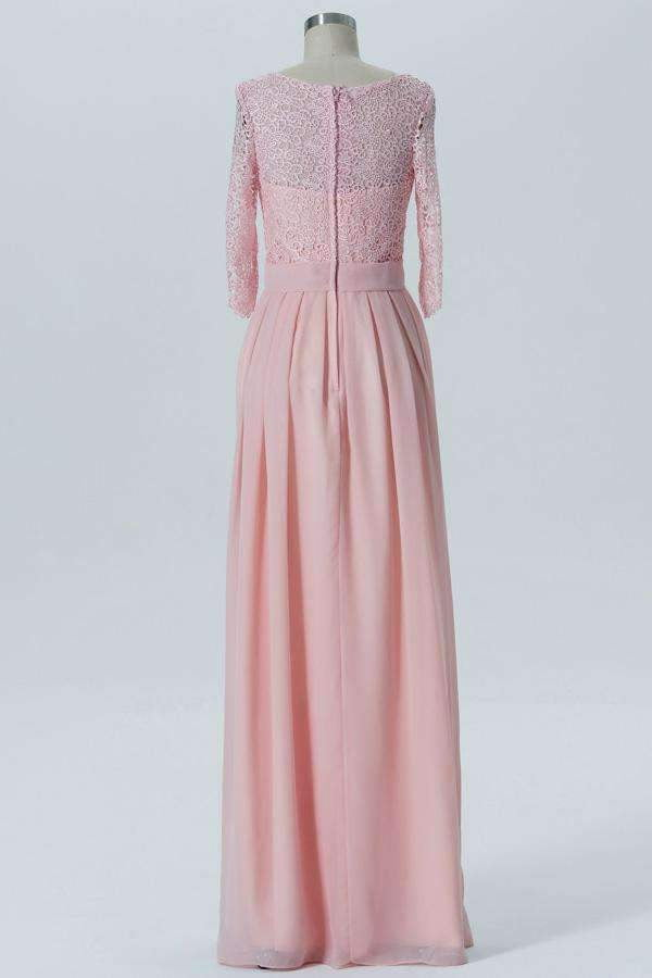 Blush A Line Floor Length Sheer Back 3/4 Sleeve Lace Appliques Bridesmaid Dresses B164