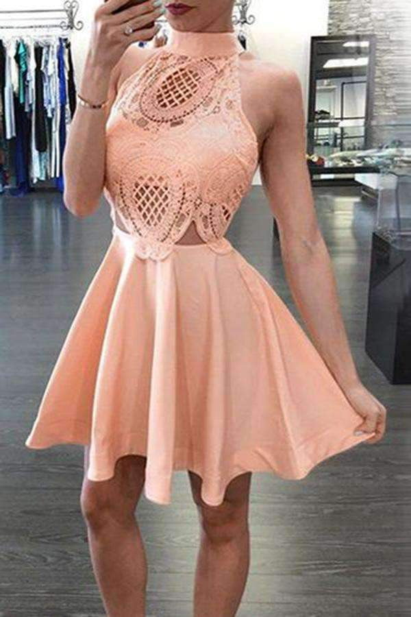 Blush pink A-Line High neck open backs Sleeveless Knee-Length Homecoming Dresses M303