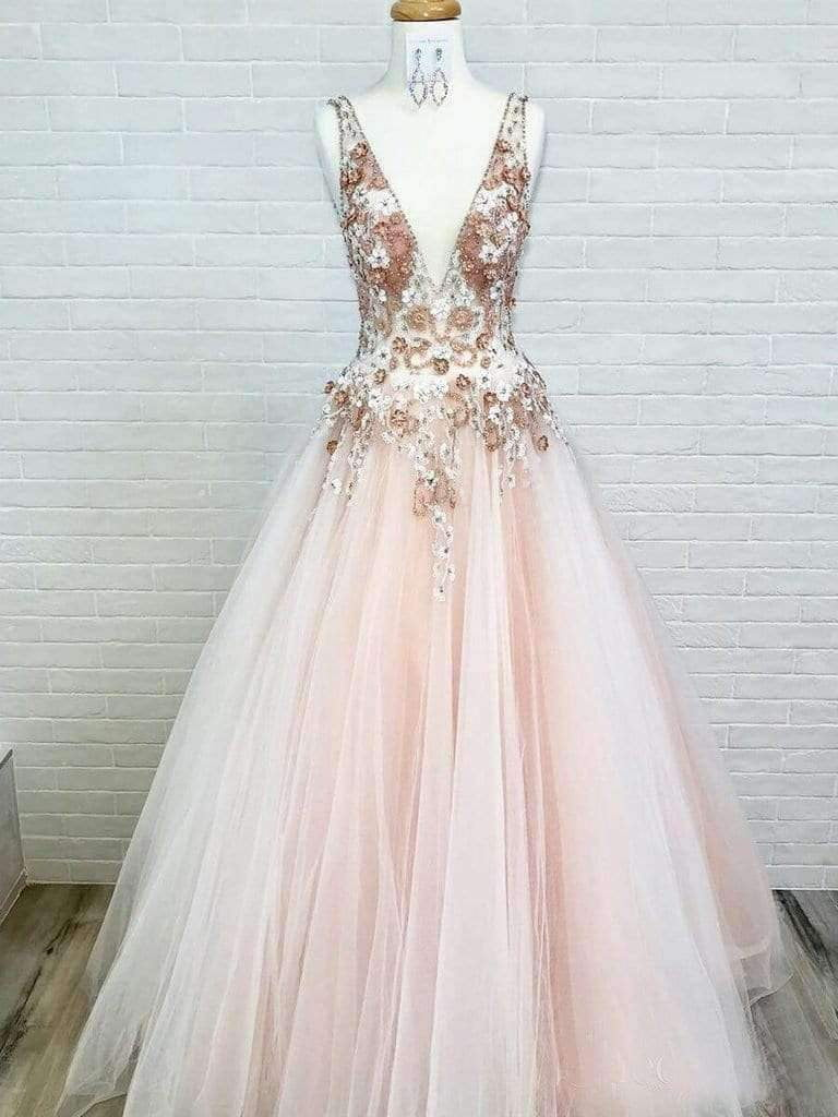 Blush Pink Tulle Applique V-neck Sleeveless Prom Dresses For Teens .PD00238