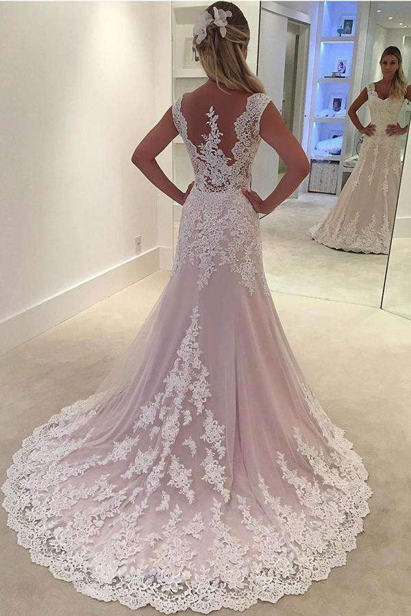 Blush Sheath Court Train Sleeveless Appliques Wedding Dress,Perfect Wedding Dress W271
