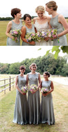 Simple Elegant Round Neck Sleeveless Column Wedding Party Long Bridesmaid Dress. AB1183