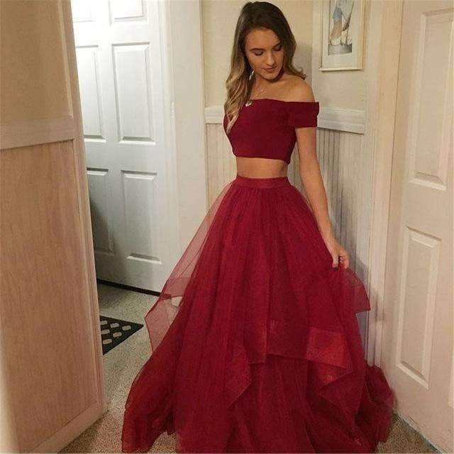 Boat Neck Short Sleeve A Line Tulle Simple Long Evening Gowns 2020 Cheap Party Dress Women