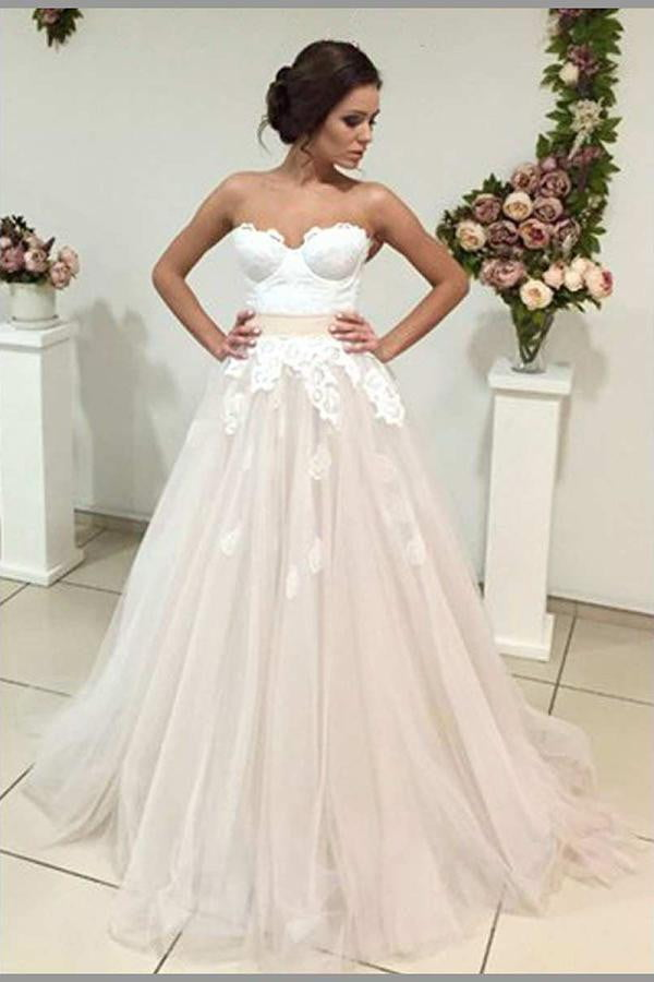 Sweetheart Open Back Lace Up Sleeveless A Line Wedding Dress W538