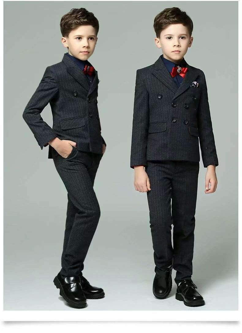 Boys Plaid Stripe Black Suit Set with Grid 5 Pieces Jacket Vest