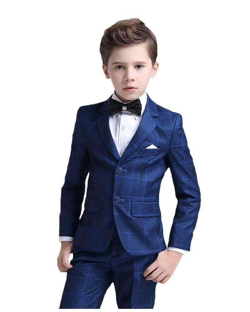 Boys Plaid Stripe Blue Suit Set with Grid 5 Pieces Jacket Vest Pants Set