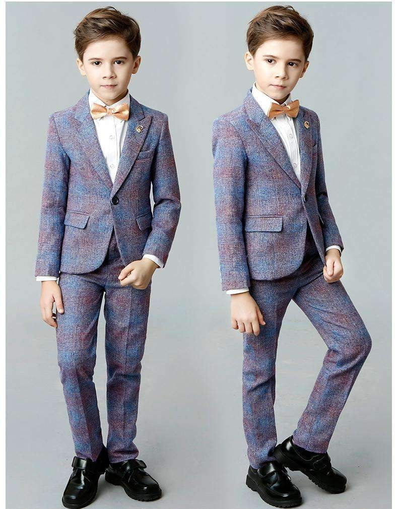Boys Suits Slim Fit Formal Dress Suit 5 Piece Teen Rainbow Suit, Blue Suit for Wedding Suits Set