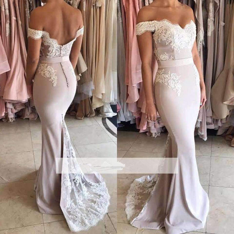 Bridesmaid Dresses  Mermaid Off The Shoulder Lace Long Wedding Party Dresses For Women