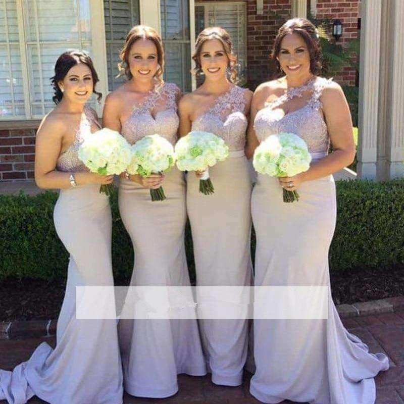 Bridesmaid Dresses Mermaid One-shoulder Satin Appliques Lace Long Wedding Party Dresses