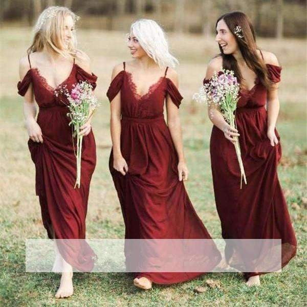 Burgundy 2019 Cheap Bridesmaid Dresses A-line V-neck Off The Shoulder Chiffon Lace Long Wedding Party Dresses