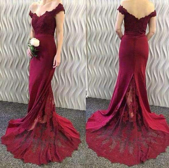Burgundy 2019 Cheap Mermaid Off The Shoulder Lace Long Wedding Bridesmaid Dresses For Women