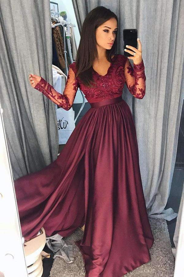 Burgundy A Line Brush Train V Neck Long Sleeve Lace Prom Dress,Party Dress P463