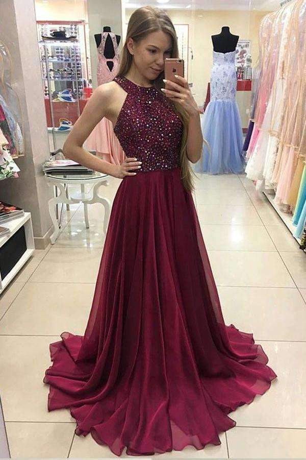 Burgundy Beading A Line Floor Length Halter Sleeveless Prom Dresses,Beads long Evening Dress P104
