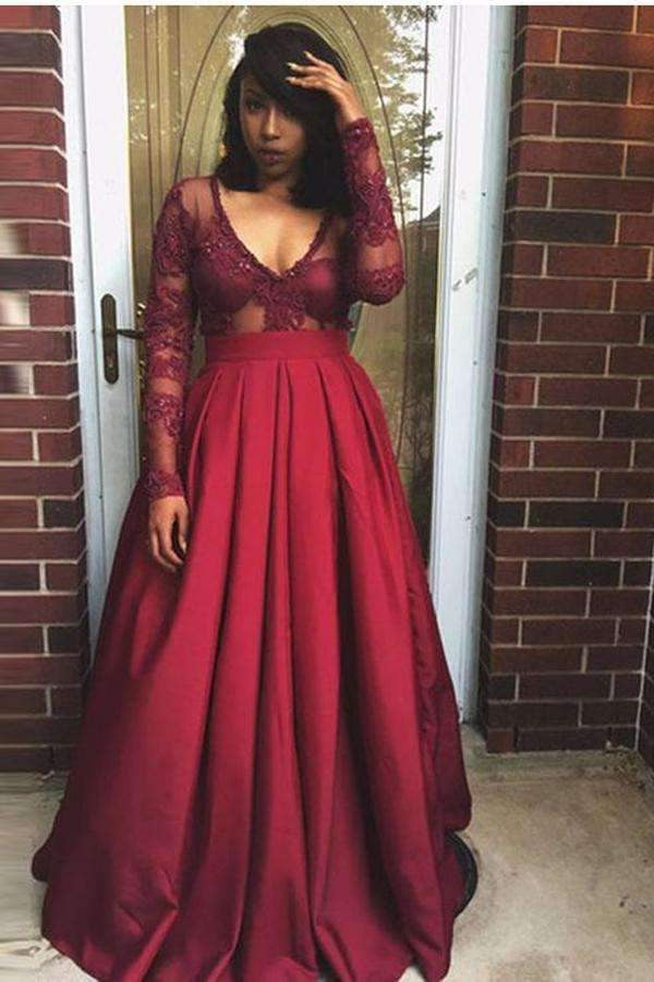Burgundy A Line Floor Length V Neck Long Sleeve Lace Plus Size Prom Dresses S10