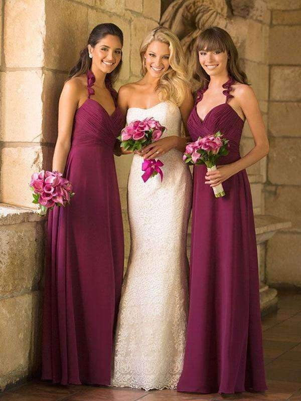 Burgundy Chiffon Halter Sweetheart Sheath Bridesmaid Dresses, AB4029
