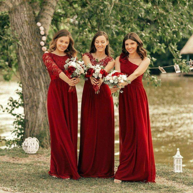 Burgundy Empire A Line Lace Bridesmaid Dresses,Chiffon Formal Dresses