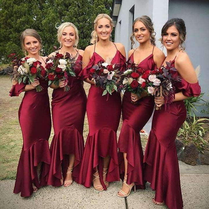 Burgundy Halter Sleeveless Mermaid Bridesmaid Dresses Affordable Prom Dresses