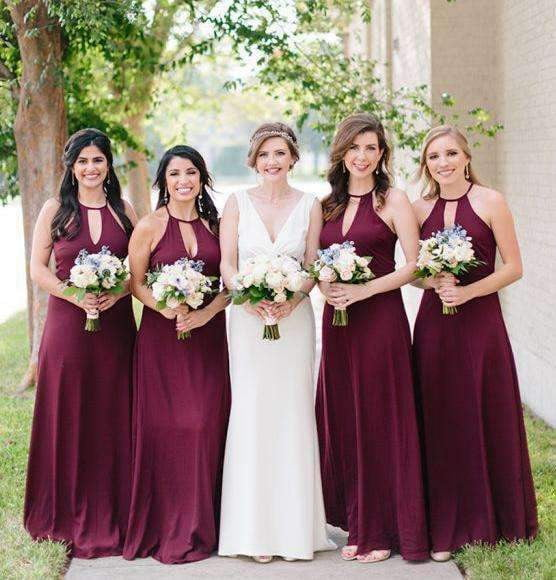 Burgundy Halter Sleeveless Plus Size Satin Bridesmaid Dresses