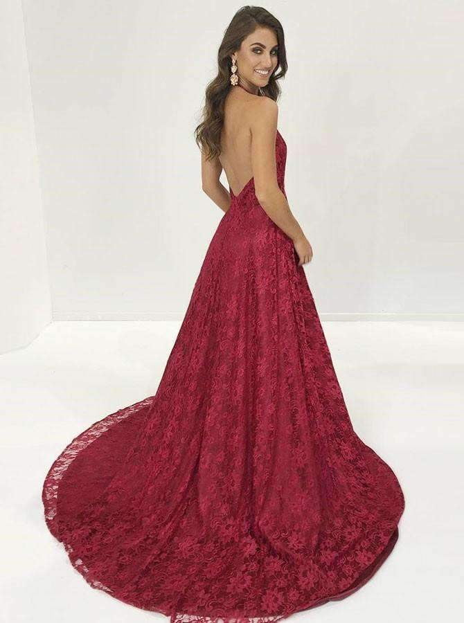 Burgundy Lace Halter Backless With Side Splits Prom Dresses. PD00262
