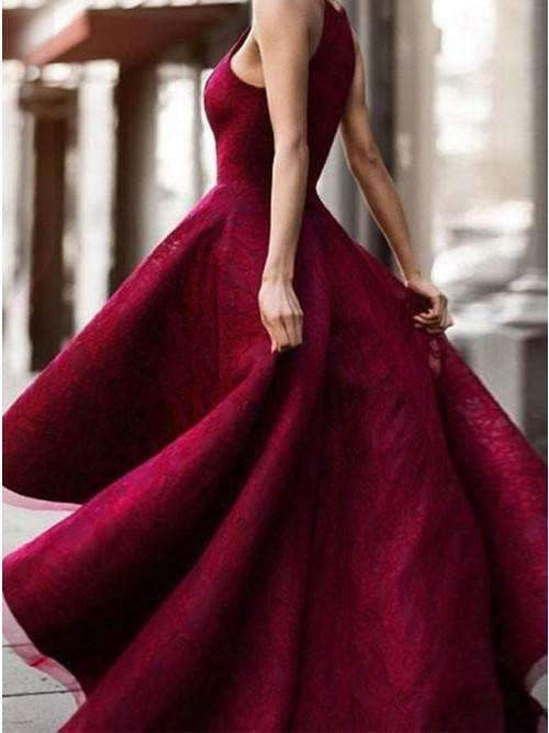 Burgundy Lace High Low Spaghetti Straps Charming A-line Prom Dresses ,PD0130