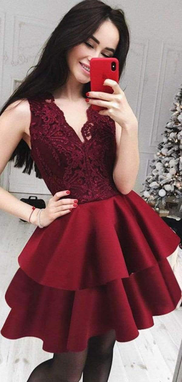 Burgundy Lace Satin Tiered Sleeveless V-neck Homecoming Dresses,HD0029