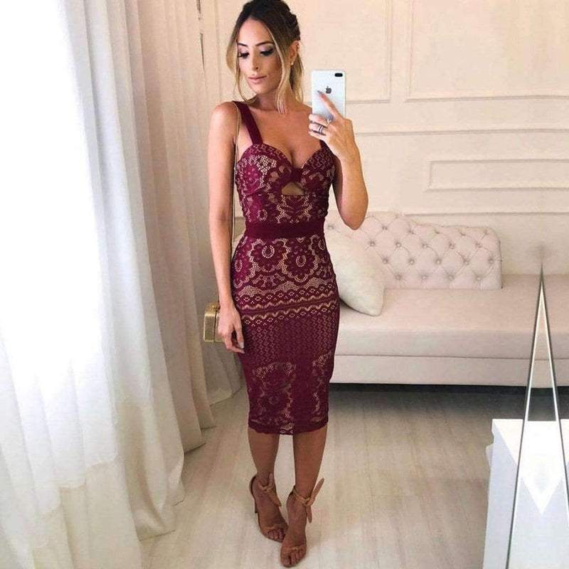Burgundy Lace Sheath Tight Knee Length Homecoming Dresses ,HD0017