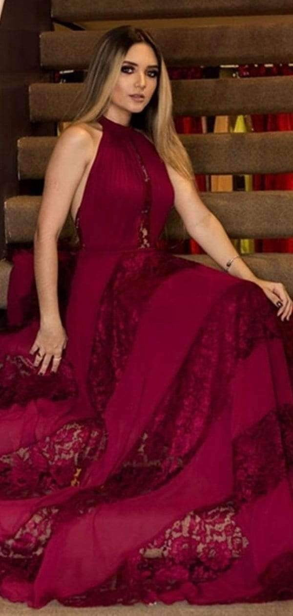 Burgundy Lace Unique Halter A-line Long Prom Dresses.PD00275