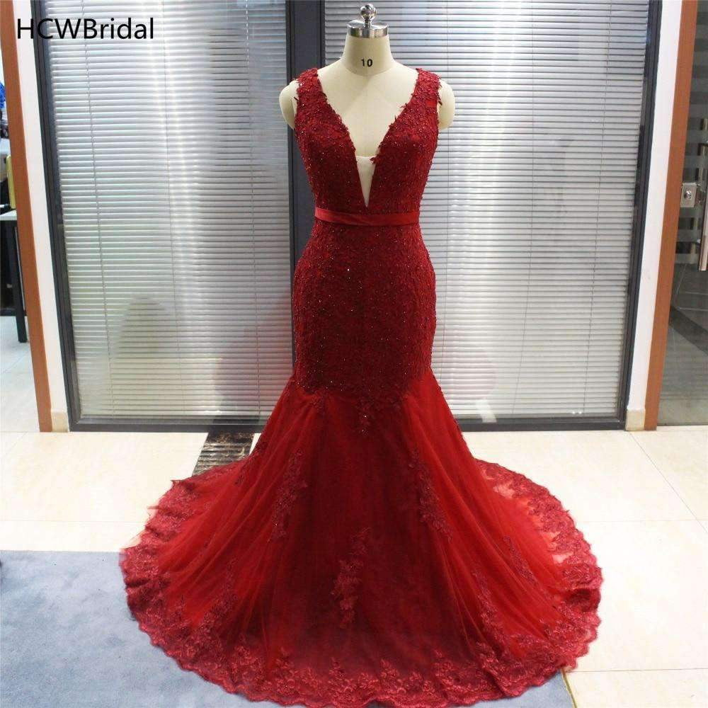Burgundy Mermaid Dress Evening V Neck Sweep Train Beaded Appliques Tulle Long Formal Prom Gowns