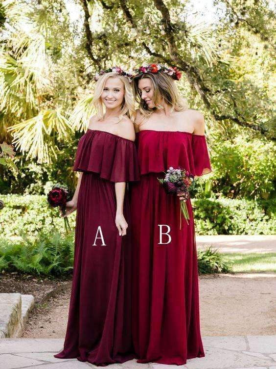 Burgundy Off Shoulder A Line Chiffon Long Bridesmaid Dresses