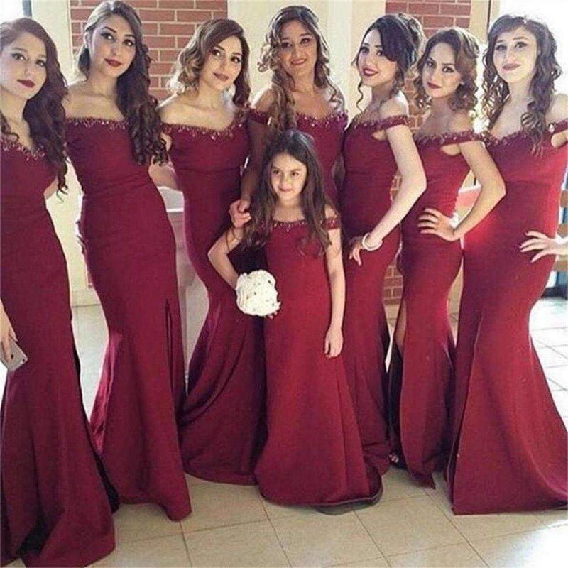 Burgundy Off Shoulder Mermaid Bridesmaid Dresses Side Slit Prom Dresses