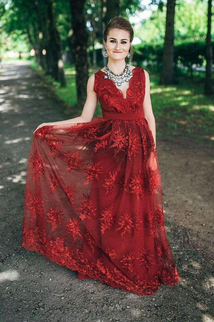 Burgundy Prom Dresses V Neck Floor Length Long Lace Party Dress P982