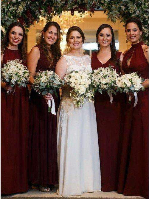 Burgundy Sleeveless Ruffles Chiffon A-Line Long Bridesmaid Dresses