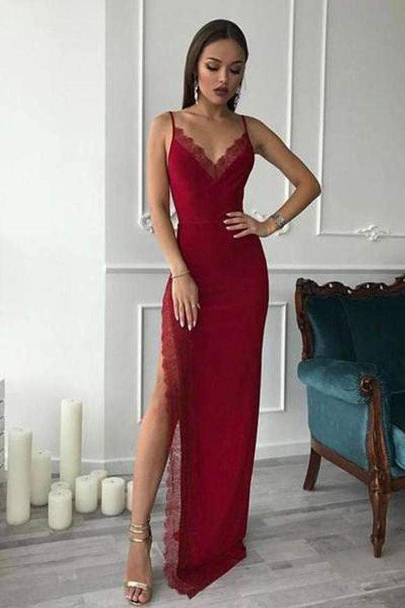 Burgundy Spaghetti Straps V Neck Sleeveless Prom Dresses with Split Side P984