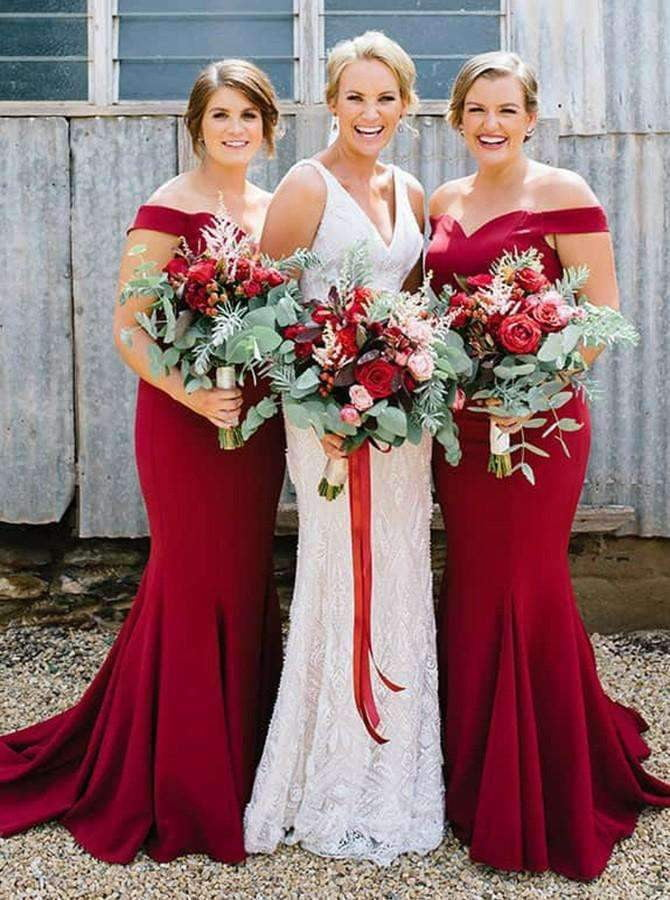 Burgundy Sweetheart Off Shoulder Sleeveless Mermaid Bridesmaid Dresses