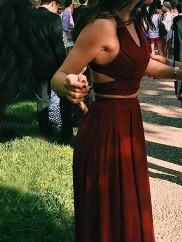 Burgundy Two Pieces Simple Gorgeous Vintage Party Prom Dresses. AB081