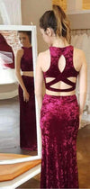 Burgundy Velvet Two Piece Open Back Sheath Prom Dresses,PD00335