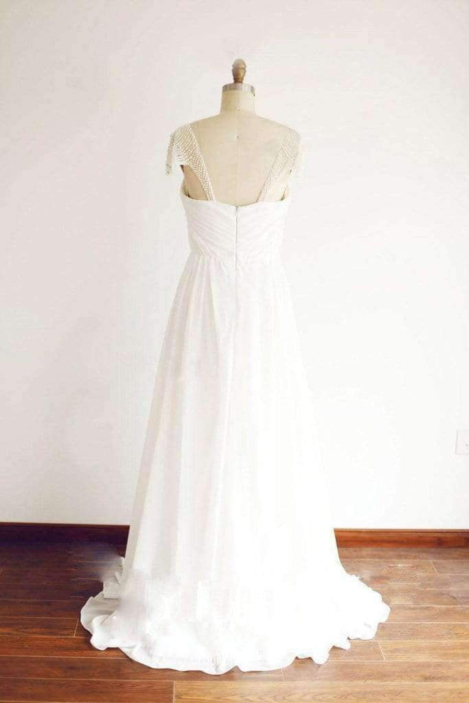Cap Sleeve Floor Length Chiffon Pleated Wedding Dresses With Beading,Princess Wedding Gown