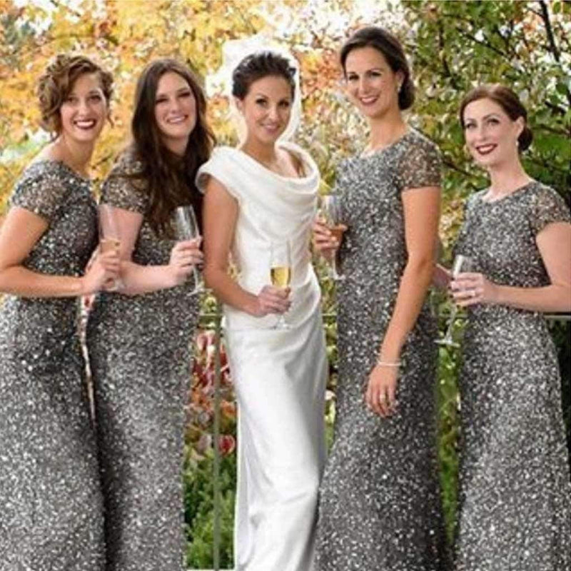 Cap Sleeve Silver Sequin Sexy Mermaid Small Round Neck Long Bridesmaid Dresses, WG90