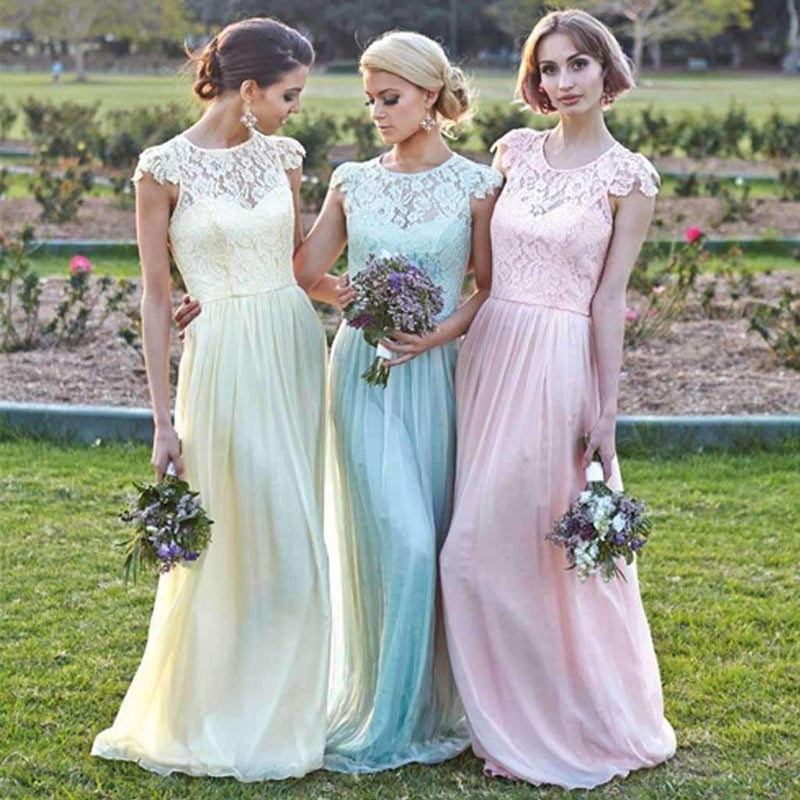 Cap Sleeve Small Round Neck Chiffon Top Lace Long Affordable Bridesmaid Dresses, WG91