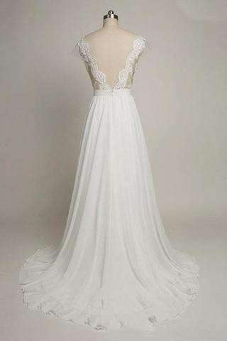 Cap Sleeves Sweetheart Long Chiffon Wedding Dress with Lace,Long Elegant Backless Wedding Gowns W26